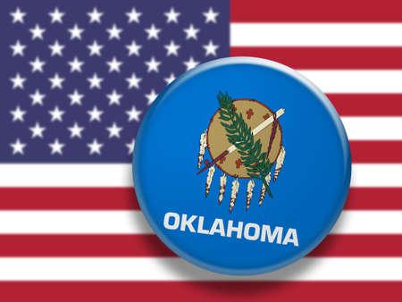 oklahoma: US State Button: Oklahoma Flag Badge, 3d illustration on blurred USA flag