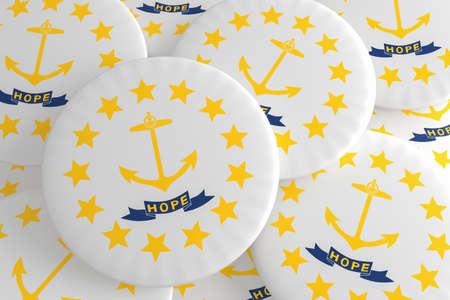 US State Buttons: Pile of Rhode Island Flag Badges, 3d illustration