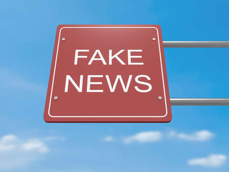 fake newspaper: Red Road Sign Fake News Against A Cloudy Sky, 3d illustration