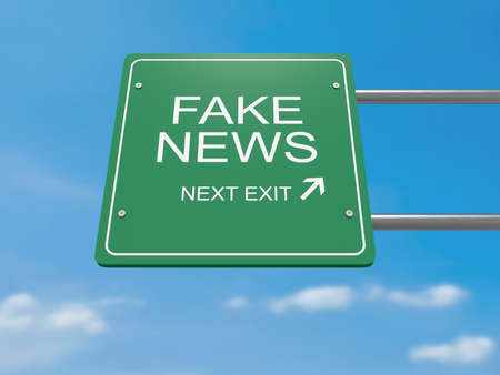 Next Exit: Fake News Road Sign, 3d illustration