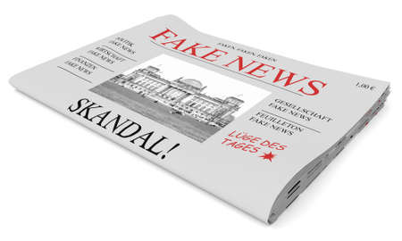 front page: Fake News Germany Concept: Newspaper Front Page, 3d illustration on white background Stock Photo