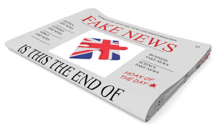 Fake News UK Concept: Newspaper Front Page, 3d illustration on white background