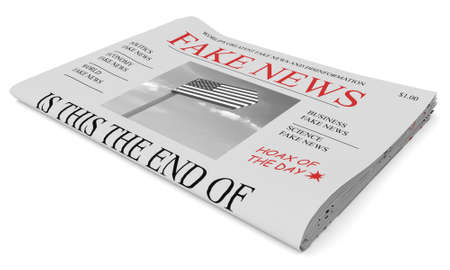 american stories: Fake News US Concept: Newspaper Front Page, 3d illustration on white background