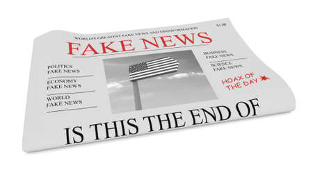 Fake News US Concept: Newspaper Front Page, 3d illustration on white background