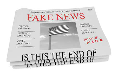 Fake News US Concept: Pile of Newspapers, 3d illustration on white background Stock Photo