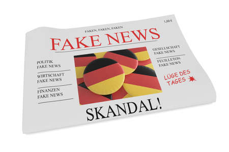 Fake News Germany Concept: Newspaper Front Page, 3d illustration on white background Stock Photo
