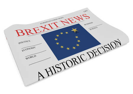 trade union: EU Politics News Concept: Newspaper Front Page Brexit, 3d illustration on white background