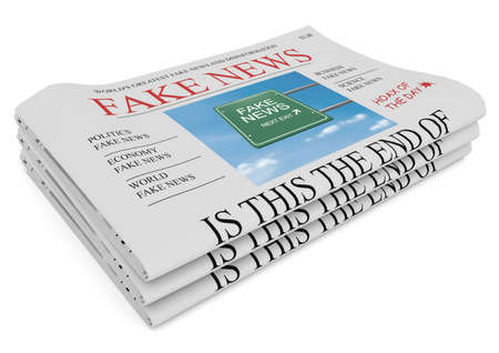 american stories: Fake News US Concept: Pile of Newspapers, 3d illustration on white background Stock Photo
