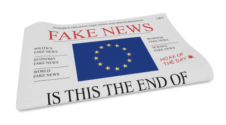 front page: Fake News European Union Concept: Newspaper Front Page With EU Flag, 3d illustration on white background Stock Photo