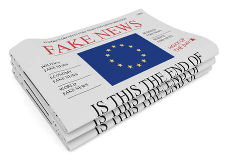 hoax: Fake News European Union Concept: Pile of Newspapers With EU Flag, 3d illustration on white background Stock Photo
