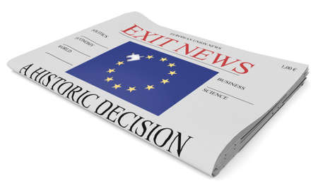 front page: EU Politics News Concept: Newspaper Front Page Exit, 3d illustration on white background