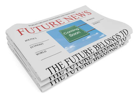 Future News Business Concept: Pile of Newspapers, 3d illustration on white background