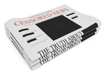principle: Censorship News Concept: Pile of Newspapers, 3d illustration on white background