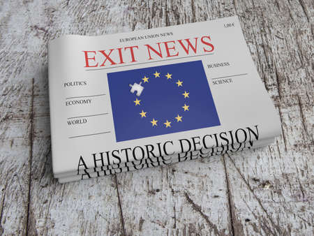 trade union: EU Politics Concept: Pile of Newspapers Exit News On Scratched Old Wood, 3d illustration Stock Photo