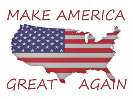 again: 3d Stars and Stripes Flag US Map With Political Slogan Make America Great Again, 3d illustration