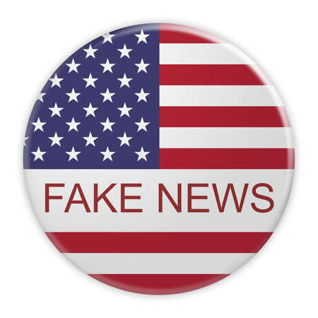 american stories: USA Media Concept Badge: Fake News Button With US Flag, 3d illustration on white background Stock Photo