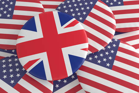 trade union: USA UK Politics Badges: US Stars And Stripes Pile With Great Britain Flag Button, 3d illustration Stock Photo