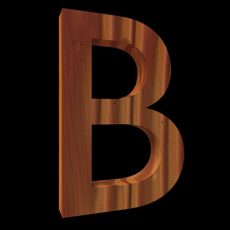 untouched: Natural Wooden Letter B, isolated on Black, 3d illustration