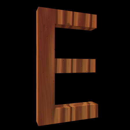 untouched: Natural Wooden Letter E, isolated on Black, 3d illustration