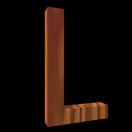 untouched: Natural Wooden Letter L, isolated on Black, 3d illustration