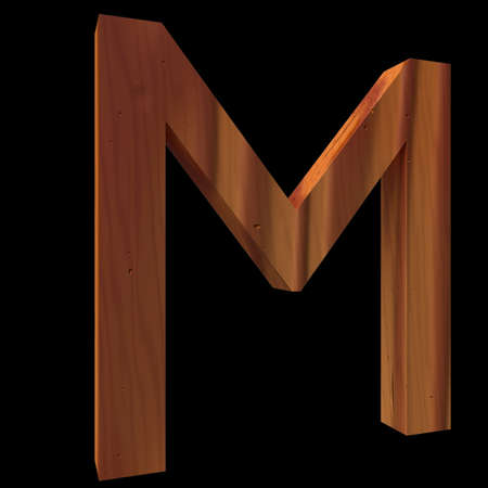untouched: Natural Wooden Letter M, isolated on Black, 3d illustration
