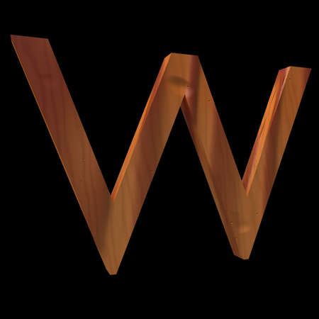 untouched: Natural Wooden Letter W, isolated on Black, 3d illustration