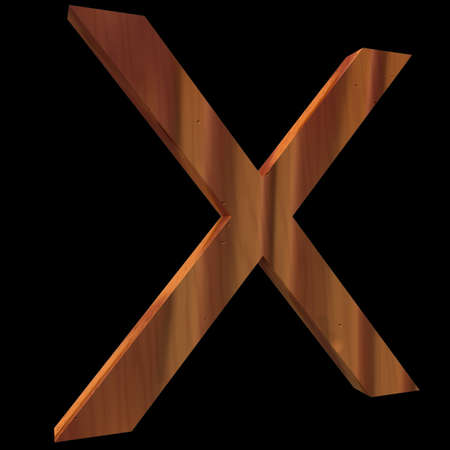 Natural Wooden Letter X, isolated on Black, 3d illustration