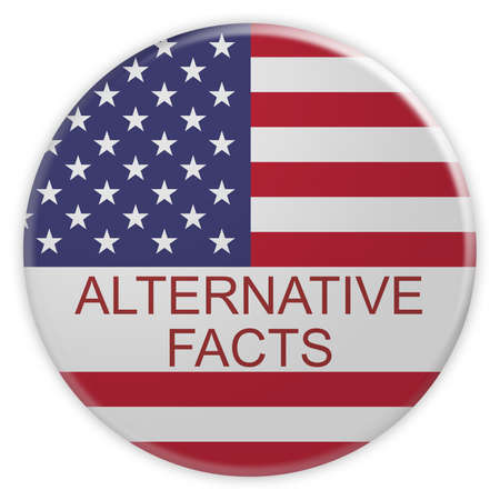 american stories: USA Media Concept Badge: Alternative Facts Button With US Flag, 3d illustration on white background