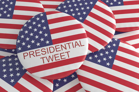 american stories: USA Media News Concept Badge: Pile With Presidential Tweet Button With US Flag, 3d illustration Stock Photo