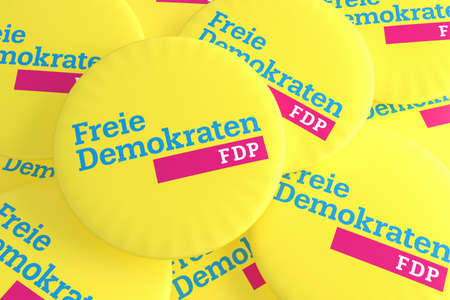BERLIN, GERMANY - JANUARY 28, 2017: German Election Politics Badges Concept: Pile of FDP Buttons, 3d illustration
