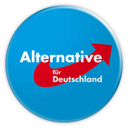 Germany Political Party Badge: AfD Button, 3d illustration on white background