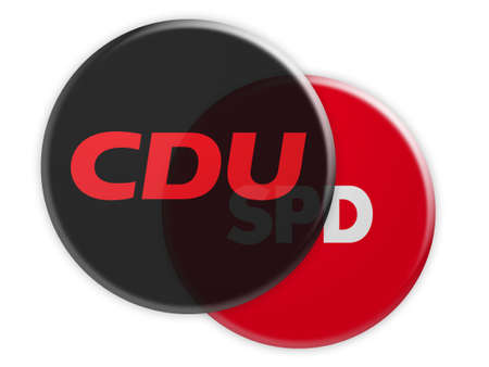 BERLIN, GERMANY - JANUARY 27, 2017: German Politics Coalition Concept: CDU Button With SPD Button, 3d illustration on white background Redakční