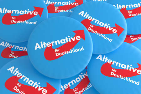 BERLIN, GERMANY - JANUARY 30, 2017: German Election Politics Badges Concept: Pile of AfD Buttons, 3d illustration