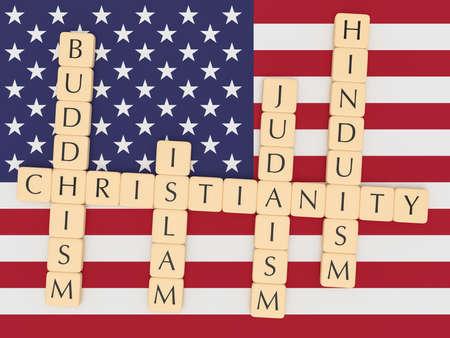 hinduismo: Diversidad religión en el EE.UU. Concepto: Creación de fichas de letras Las palabras Cristianismo, Islam, judaísmo, el budismo, el hinduismo con la bandera de Estados Unidos, ilustración 3d Foto de archivo