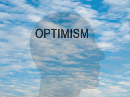 aspirational: Word Optimism On Transparent Head Silhouette Against A Blue Cloudy Sky, illustration