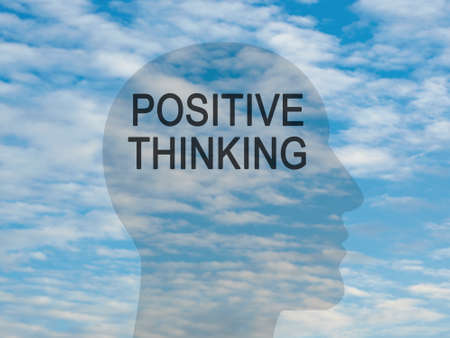 Word Positive Thinking On Transparent Head Silhouette Against A Blue Cloudy Sky, illustration