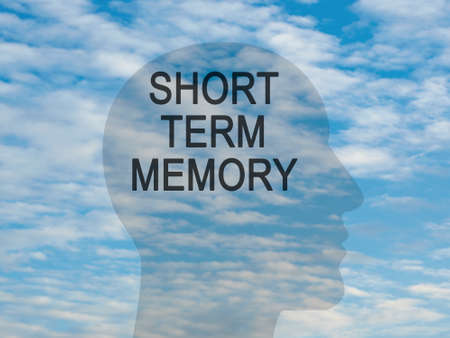 Words Short Term Memory On Transparent Head Silhouette Against A Blue Cloudy Sky, illustration