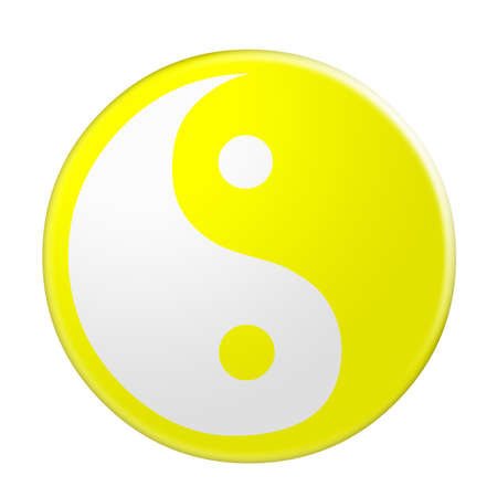3d Yellow Yin And Yang Symbol, illustration isolated on white background Stock Photo