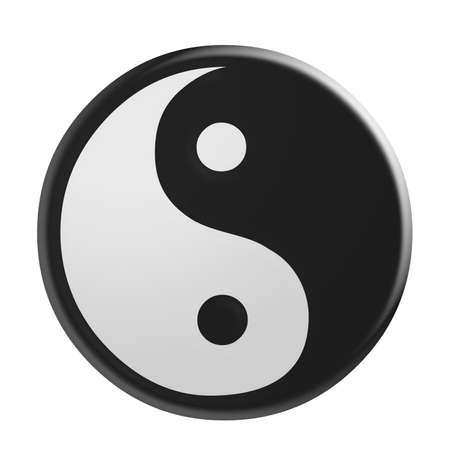 3d Green Yin And Yang Symbol Illustration Isolated On White Stock