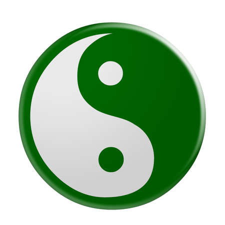 3d Green Yin And Yang Symbol, illustration isolated on white background Stock Photo