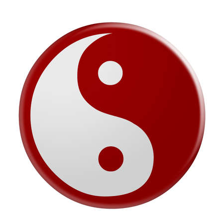 dualism: 3d Red Yin And Yang Symbol, illustration isolated on white background