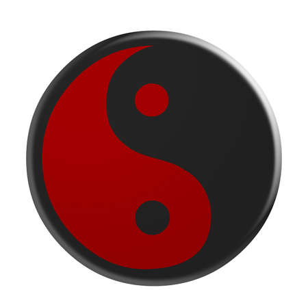dualism: 3d Black And Red Yin And Yang Symbol, illustration isolated on white background Stock Photo