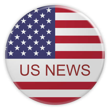 american stories: USA Media Concept Badge: US News Button With American Flag, 3d illustration on white background