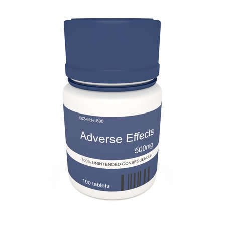 adverse: Medicine Concept: Blue Pill Bottle Adverse Effects, 3d illustration on white background
