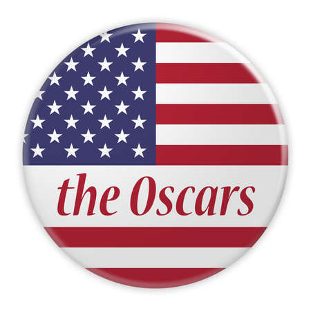 BERLIN, GERMANY - FEBRUARY 25, 2017: USA News Concept Badge: The Oscars Button With US Flag, 3d illustration on white background Editorial