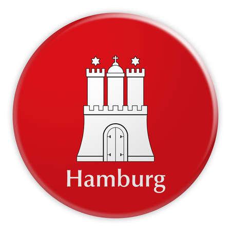 German Politics News Concept: Hamburg Flag Button, 3d illustration on white background Stock Photo