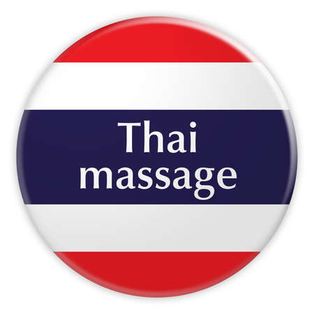 Thailand Flag Badge: Thai Massage Button, 3d illustration on white background