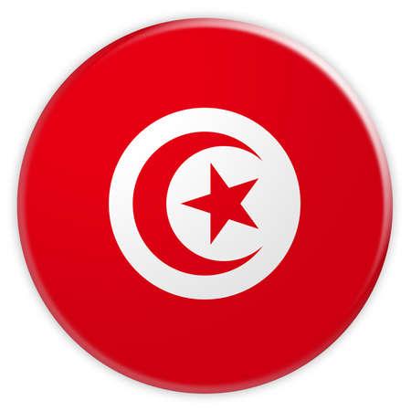 Tunisia Flag Button, 3d illustration on white background Stock Photo
