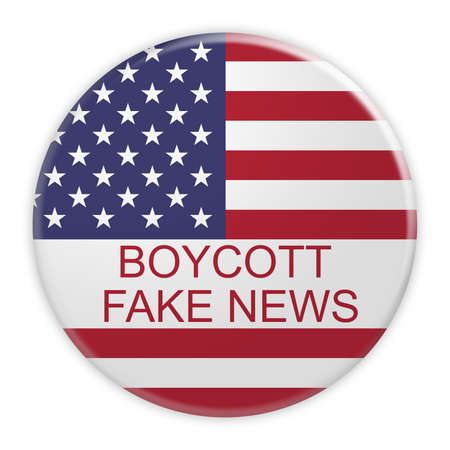 boycott: USA Media Concept Badge: Boycott Fake News Button With US Flag, 3d illustration on white background Stock Photo