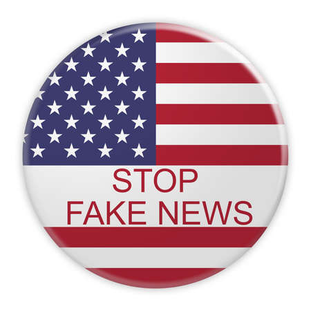 USA Media Concept Badge: Stop Fake News Button With US Flag, 3d illustration on white background